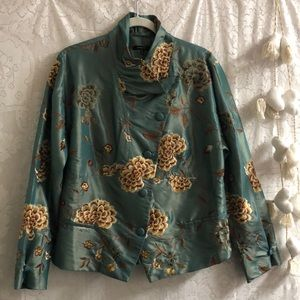 Samuel Dong silk embroidered jacket floral teal XL